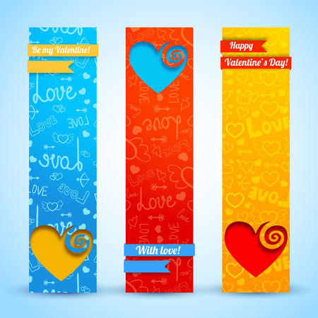 st  valentines day: Valentine`s day banners set. Design concept. Vector Illustration, eps10, contains transparencies. Stock Photo
