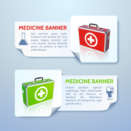 Medical bag banners set. Vector Illustration, eps 10, contains transparencies. illustration