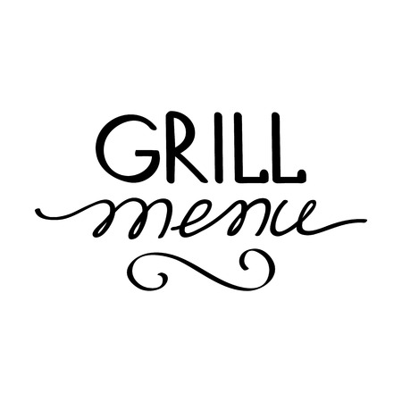 haunch: Grill menu typography concept. Isolated on the white background. Vector Illustration, contains transparencies.