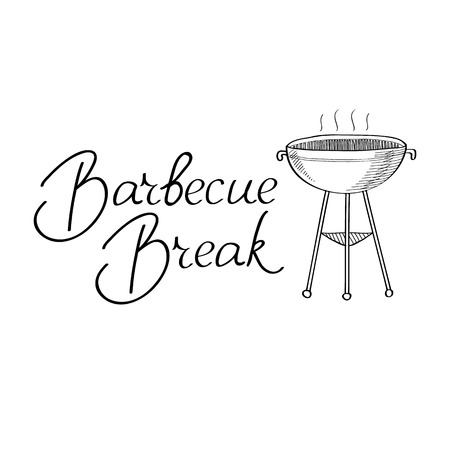 haunch: Barbecue break typography design concept. Isolated on the white background. Vector Illustration, contains transparencies.