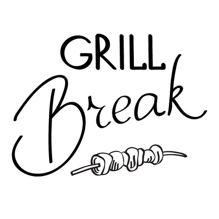 haunch: Grill break typography design concept. Isolated on the white background. Vector Illustration, contains transparencies. Illustration