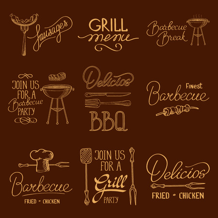 izole nesneleri: Collection of vintage retro BBQ and grill badges and labels. isolated objects. Vector Illustration, contains transparencies.