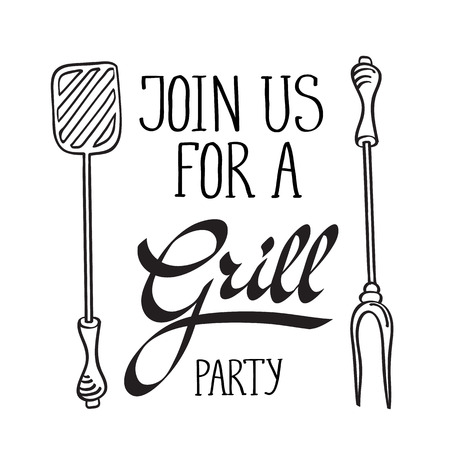 haunch: Join us for a grill party typography design concept. Isolated on the white background. Vector Illustration, contains transparencies.
