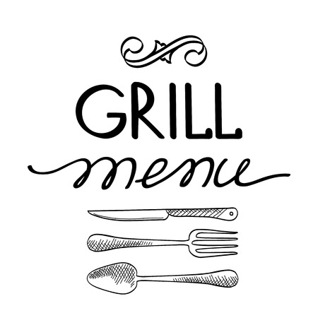 haunch: Grill menu typography concept. Isolated on the white background. Vector Illustration, eps10, contains transparencies.