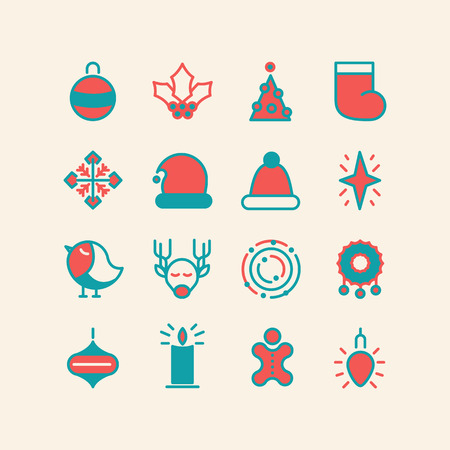izole nesneleri: Christmas and Happy New Year colored icons set. isolated objects on the white background. Vector Illustration, eps10, contains transparencies. Çizim