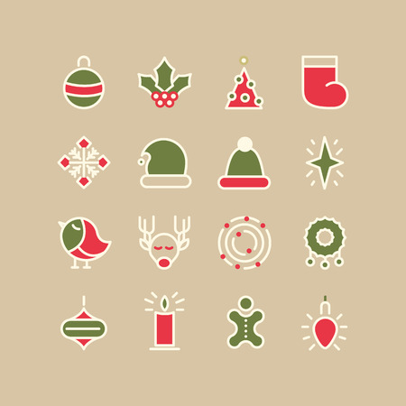 on a white background: Christmas and Happy New Year colored icons set. isolated objects on the background. Vector Illustration, eps10, contains transparencies.