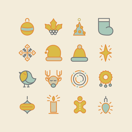 izole nesneleri: Christmas and Happy New Year colored icons set. isolated objects on the background. Vector Illustration, eps10, contains transparencies.