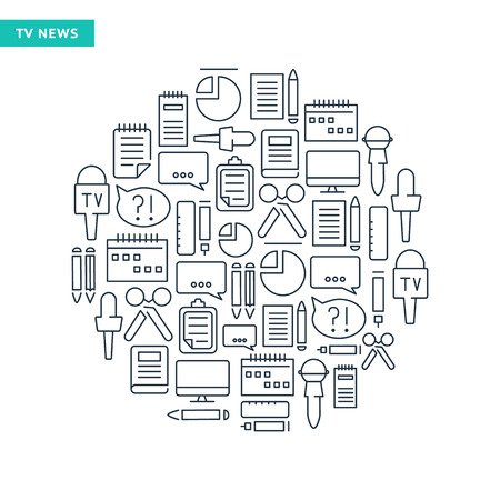 journalistic: Journalistic lined icons set on the white background in the form of circle. Vector Illustration, eps10, contains transparencies.