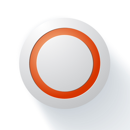 button: White technology music button (volume settings banner, sound control knob) with realistic shadow light background for internet sites, web user interfaces (UI) and applications (apps). Vector design.