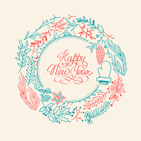 winter season: Happy New Year design concept in the hand drawing style. Vector Illustration, eps10, contains transparencies.