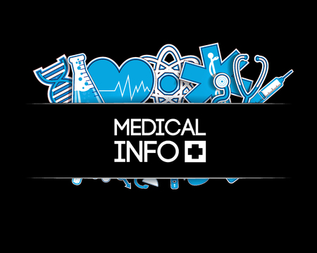 heart doctor: Medical background. stickers style. Blue sticker icons on the black background. Vector Illustration, eps 10, contains transparencies.