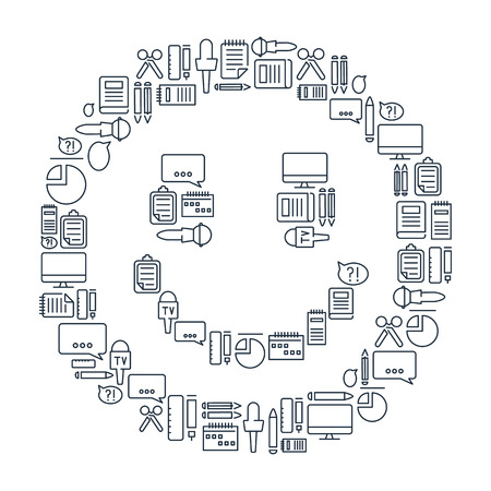 mainstream: Journalistic lined icons set on the white background in the form of smile. Vector Illustration, eps10, contains transparencies.