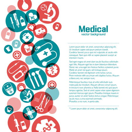 medical illustration: Medical background. flat style. Blue flat icons on the white background. Vector Illustration, eps 10, contains transparencies. Illustration