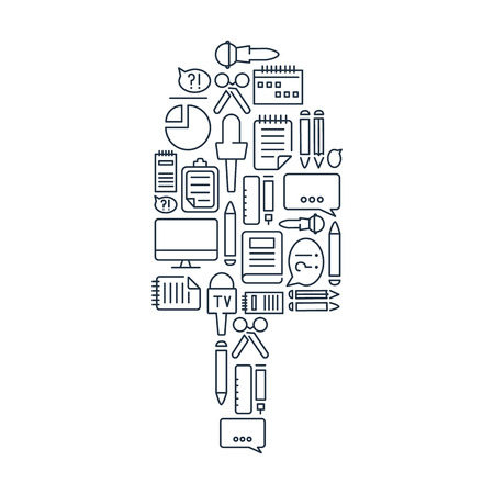 journalistic: Journalistic lined icons set on the white background in the form of microphone. Vector Illustration, eps10, contains transparencies.