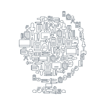journalistic: Journalistic lined icons set on the white background in the form of globe. Vector Illustration, eps10, contains transparencies.