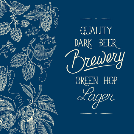 humulus lupulus: Premium quality. Original dark beer. Hand drawing background. vintage blue style. Vector Illustration, eps10, contains transparencies.