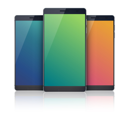 smartphone apps: Set of realistic smartphones with blank screen. Mobile devices. isolated on the white background. Vector Illustration, eps10, contains transparencies. Illustration