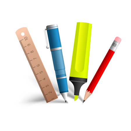 writing tools: Paint and writing tools collection - Pen, pencil, marker, line. Realistic isolated objects on the white background. Vector Illustration, eps10, contains transparencies. Vectores