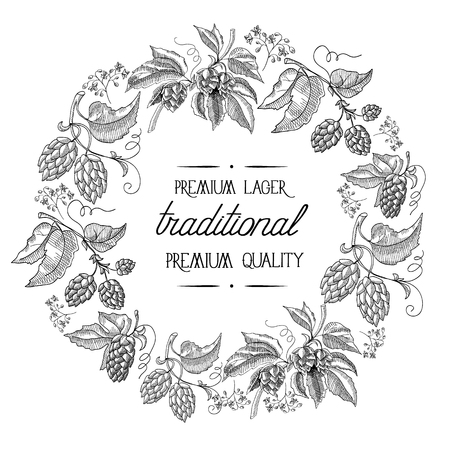 humulus lupulus: Premium lager. traditional premium quality beer. Hand drawing background. vintage style. isolated on the white background. Vector Illustration, eps10, contains transparencies.