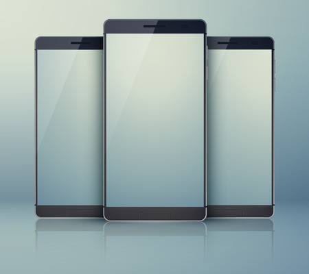 mobile communication: Set of realistic smartphones with blank screen. Mobile devices. Vector Illustration, eps10, contains transparencies. Illustration