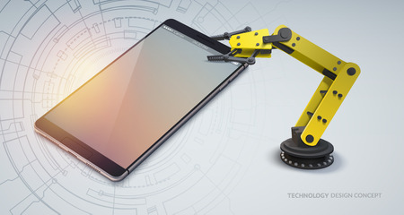bras robot: Realistic mobile device with a robot arm. Design concept. Vector Illustration, eps10, contains transparencies.