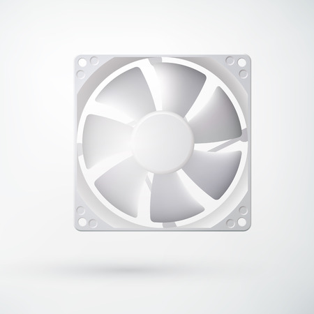 electronic components: Realistic computer fan. Isolated object on the white background. Vector Illustration, eps10, contains transparencies. Illustration