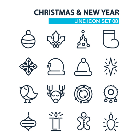 izole nesneleri: Christmas and Happy New Year lined icons set. isolated objects on the white background. Vector Illustration, eps10, contains transparencies.