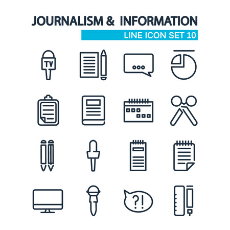 izole nesneleri: lined icons set. Journalism and information icons. isolated objects on the white background. Vector Illustration, eps10, contains transparencies. Çizim