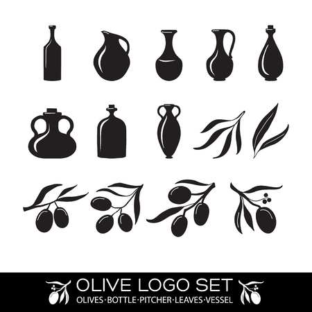 extra virgin olive oil: Olives and olive oil icons set. isoneted objects on the white background. Vector Illustration, eps10, contains transparencies.