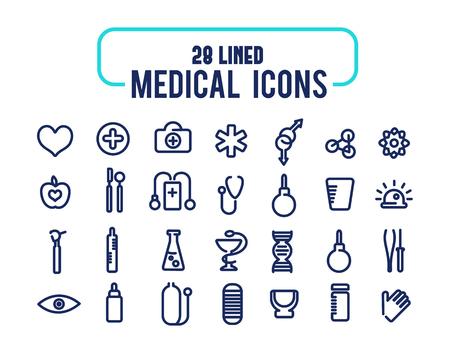 izole nesneleri: 28 lined icons set. Medical icons. isolated objects on the white background.  Çizim