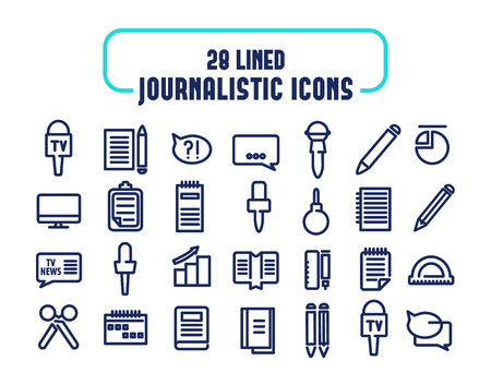 mainstream: 28 lined icons set. Journalistic icons. isolated objects on the white background. Illustration