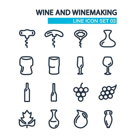 izole nesneleri: Wine and wine making line icons set. isolated objects on the white background.