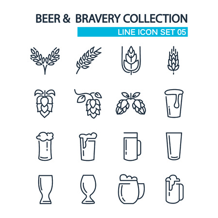 izole nesneleri: Beer and bravery collection line icons set on the white background. isolated objects.  Çizim