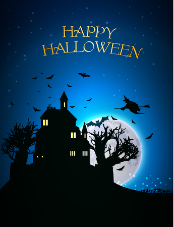 spooky house: Happy Halloween Party Background. moon in the background cemetery