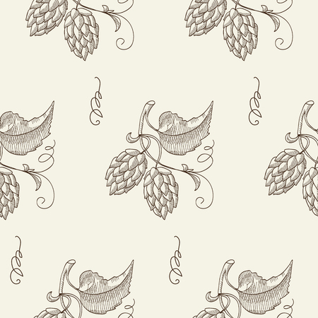humulus lupulus: Lager beer. Twigs hop seamless pattern. Sketch. Hand drawing. Design concept. Vector Illustration, eps10, contains transparencies.