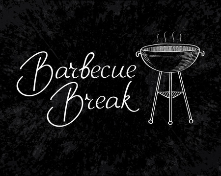 haunch: Barbecue break typography design concept. Isolated on the white background. Vector Illustration, eps10, contains transparencies. Illustration