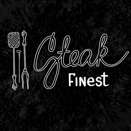 finest: Finest steak design concept. Grill Party. isolated objects on the white background. Vector Illustration, eps10, contains transparencies.