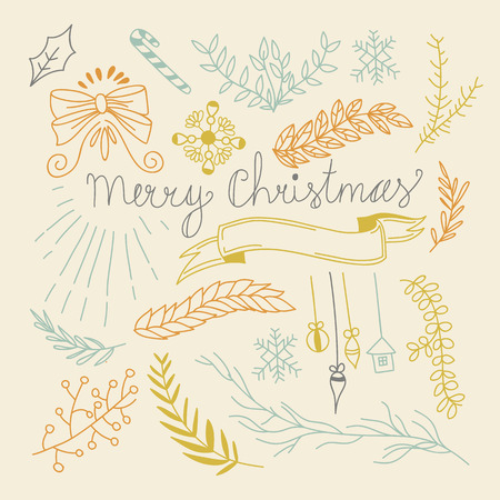 cajas navide�as: Feliz a�o nuevo concepto de dise�o en el estilo de dibujo a mano. Ilustraci�n vectorial, eps10, contiene las transparencias.