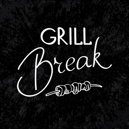 haunch: Grill break typography design concept. Isolated on the white background. Vector Illustration, eps10, contains transparencies.