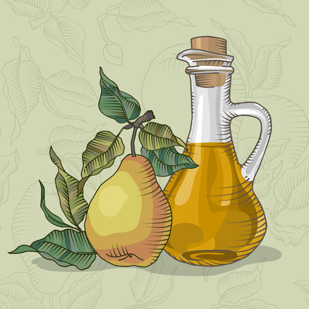 pear tree: Decanter of pear Juice with the fruit of a pear tree vector illustration Illustration