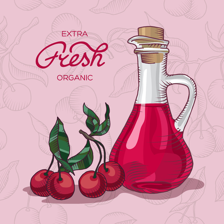 decanter: Decanter of Cherry Juice vector illustration Illustration