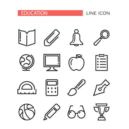 Education Vector Icons Set Isolated On The White Background