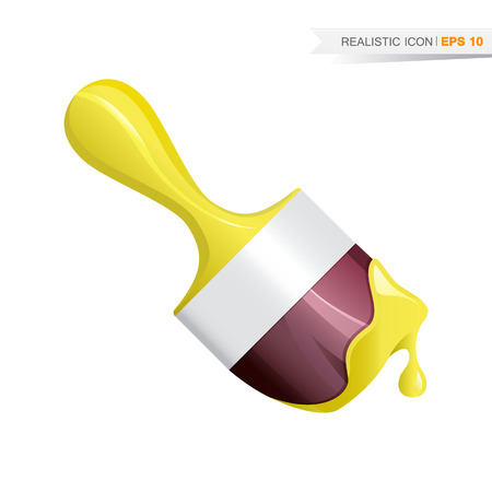 Paint brush realistic icon with yellow drop, vector illustration
