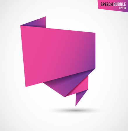 illustration for advertising: Abstract pink banner, folded paper tape, or original voice bubbles, vector illustration for advertising banners, posters Illustration