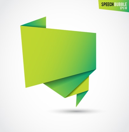 illustration for advertising: Abstract green banner, folded paper tape, or original voice bubbles, vector illustration for advertising banners, posters Illustration