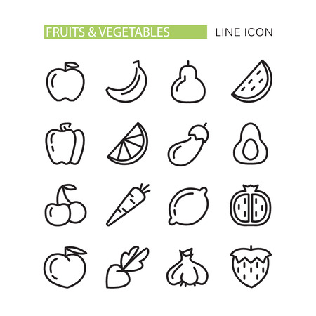 Fruits and vegetables lined icons set on the white background