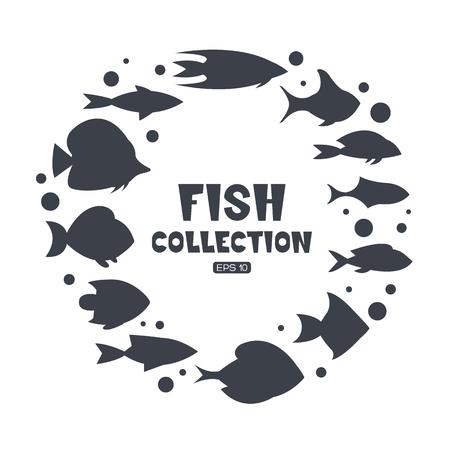 salt water: Fish collection. Cartoon style. Illustration of twelve different fish