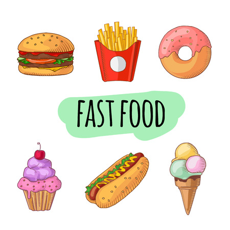 Fast food. Set of cartoon vector food icons. french fries, hamburger, sweet potato fries, hot dog, icecream