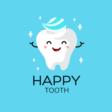 smile  teeth: Healthy cute cartoon tooth character smiling happily tooth with toothpaste