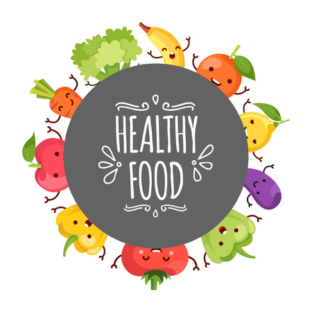 healty lifestyle: Healty food cartoon representing some funny vegetables